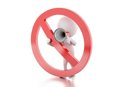 3d renderer image. White people with megaphone surrounded by a forbidden sign. Isolated white background. Stock Photo