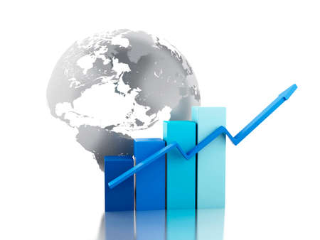 business globe: 3d renderer image. Growth chart with globe. Business and economy concept. Isolated white background.
