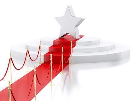 exposición: la imagen de render 3D. Una estrella en lo alto de un podio con alfombra roja. el concepto de éxito. fondo blanco aislado.