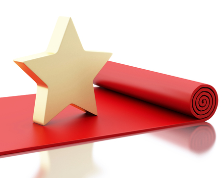 prestige: 3d renderer image. Red carpet with a big star. Isolated white background.