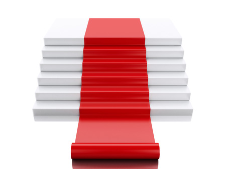 red carpet background: 3d renderer image. Empty white podium with red carpet. Success concept. Isolated white background.