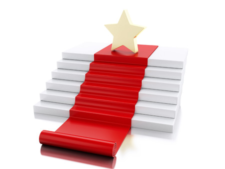 3d renderer image. A star in the top of stairs with red carpet. Success concept. Isolated white background.