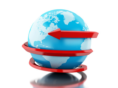 wordwide: 3d renderer image. Globe with red arrow circle around. Isolated white background.