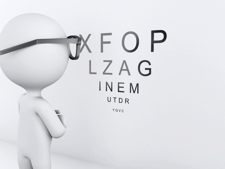 optometrist: 3d image renderer. White people at the ophthalmologist.