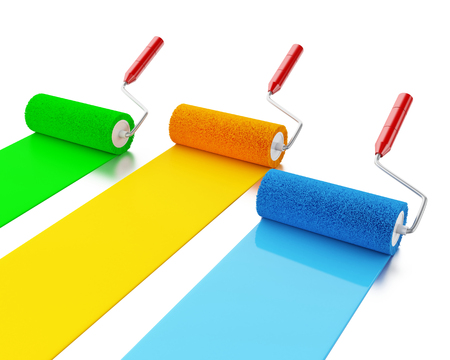 redecorate: 3d renderer image. Paint rollers with colours blue, green and yellow. Isolated white background. Stock Photo