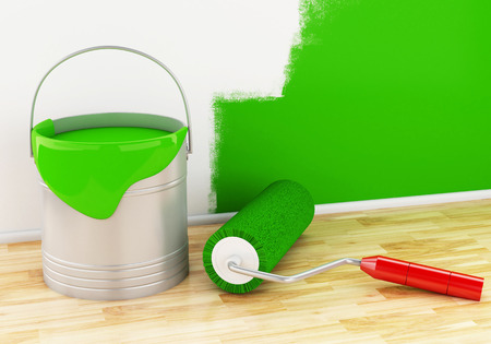 paint can: 3d renderer image. Full paint bucket with paint brush and roller.