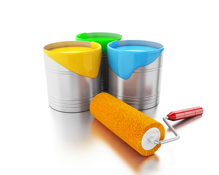 3d renderer image. Full paint buckets and paint roller. Isolated white background.