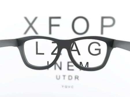 reading glasses: 3d renderer image. Black reading glasses focus on eye chart.