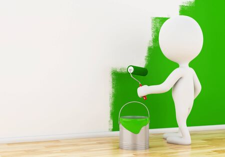 painting on the wall: 3d renderer image. White people painting wall with a roller. Stock Photo