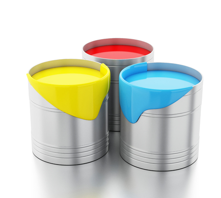 paint bucket: 3d renderer image. Full paint buckets. Isolated white background.
