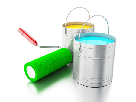 ink pot: 3d renderer image. Full paint buckets and paint roller. Isolated white background.