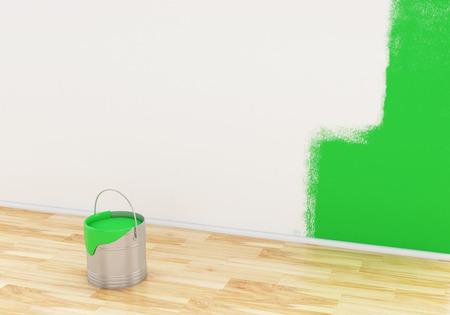 paintbucket: 3d renderer image. Full bucket of paint color green.