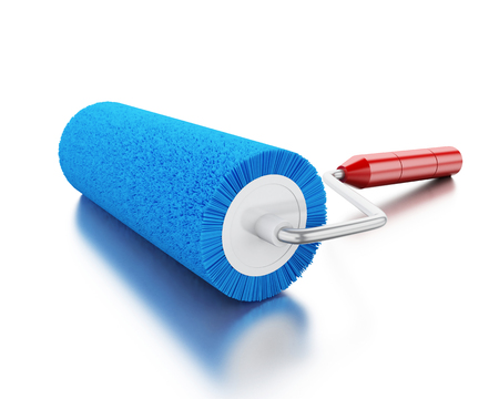 redecorate: 3d renderer image. Paint roller with colour blue. Isolated white background.