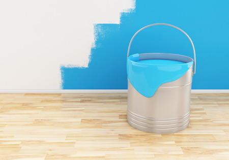 paintbucket: 3d renderer image. Full bucket of paint color blue.