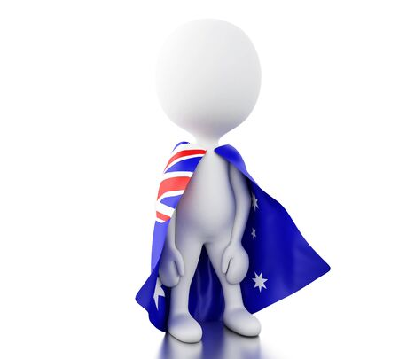 3d illustration. White people with a Australia flag. Sport concept. Isolated white background.