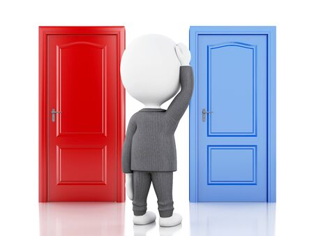 doubtful: 3d illustration.  Business people and two doors, doubtful. Choice concept on white background Stock Photo