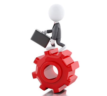 mechanism of progress: 3d illustration. White people. Businessman with briefcase in gear wheel. Business concept. Isolated white background