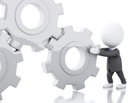 pushes: 3d renderer image. White business people pushes a gear. Business concept. Isolated white background