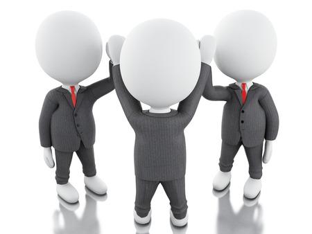 la union hace la fuerza: Ilustración 3D. El hombre de negocios se están uniendo las manos. concepto de trabajo en equipo. fondo blanco aislado