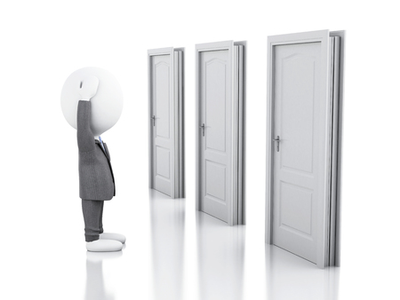 choice concept: 3d illustration.  Business people and three doors, doubtful. Choice concept on white background
