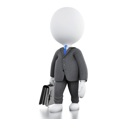 3d illustration. Businessman with his briefcase. Business concept. Isolated white background Stock fotó