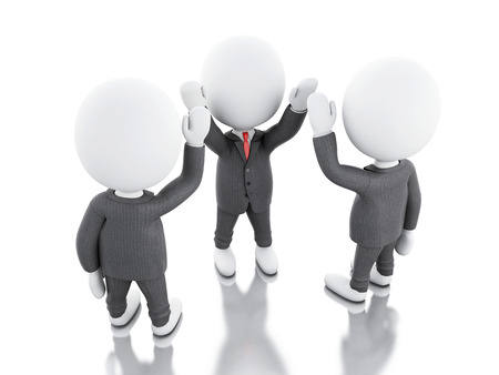 joining: 3d illustration. Businessman are joining hands. teamwork concept. Isolated white background
