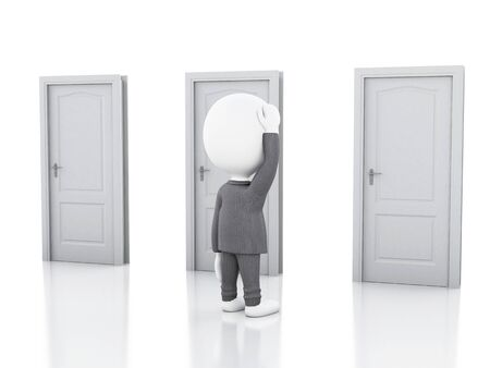 doubtful: 3d illustration.  Business people and three doors, doubtful. Choice concept on white background