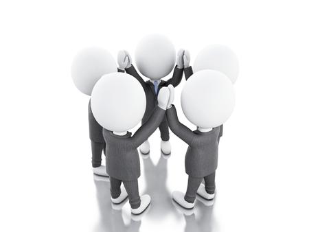 la union hace la fuerza: Ilustraci�n 3D. El hombre de negocios se est�n uniendo las manos. concepto de trabajo en equipo. fondo blanco aislado