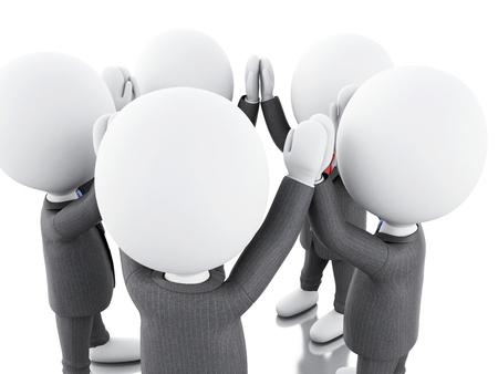 la union hace la fuerza: 3d illustration. Businessman are joining hands. teamwork concept. Isolated white background