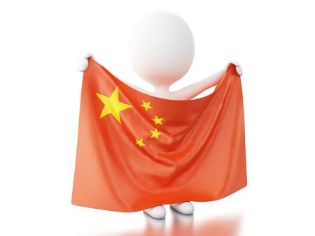 3d illustration. White People with China flag. Isolated white background. Stock Photo