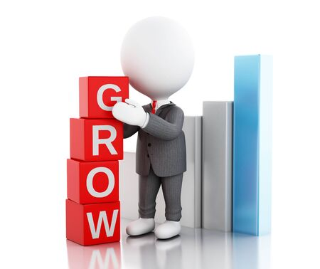 grow business: 3d illustration. White business people with cubes with word grow. Business concept. Isolated white background Stock Photo