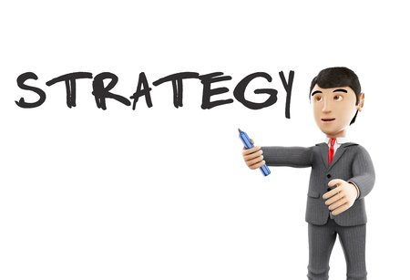 remarkable: 3d Illustration. Businessman with a marker and word strategy. Business concept. Isolated white background.