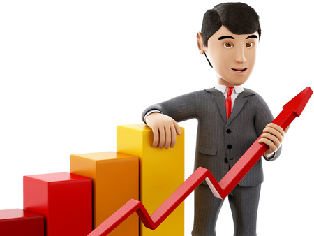 3d Illustration. Businessman with a growth graph. Business and success concept. Isolated white background. Stock Photo