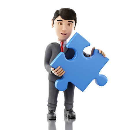 puzzling: 3d Illustration. Businessman with a piece of puzzle. Business concept. Isolated white background. Stock Photo