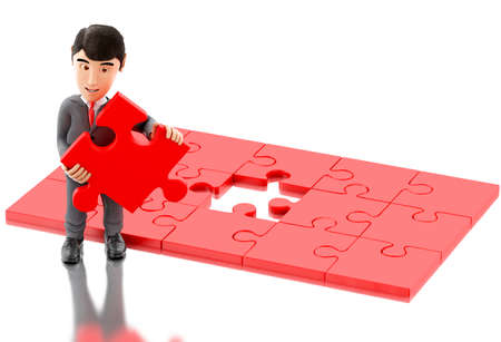 puzzling: 3d Illustration. Businessman with a piece of puzzle. Business and success concept. Isolated white background.