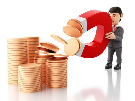 strong magnetic field: 3d renderer image. Businessman with a magnet attracting money. Business concept. Isolated white background.