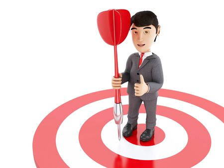 3d Illustration. Businessman on target with a dart. Business and success concept. Isolated white background. Stock Photo