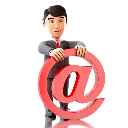 3d Illustration. Businessman with an email symbol. Business concept. Isolated white background. Stock Photo