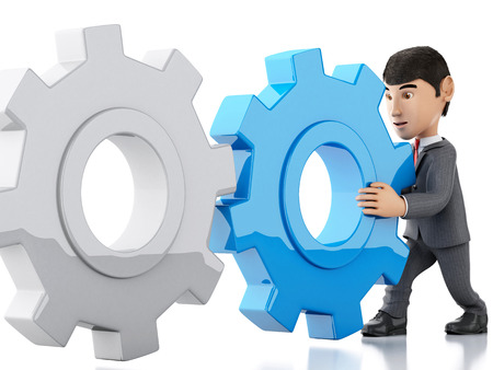 pushes: 3d renderer image. businessman pushes a gear. Business concept. Isolated white background