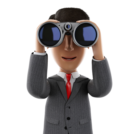 3d render illustration. Businessman looking through binoculars. Success in business. Isolated white background. Banco de Imagens