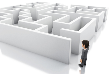 complicated journey: 3d Illustration. Businessman standing in the entrance of a maze. Business and success challenge concept. Isolated white background.