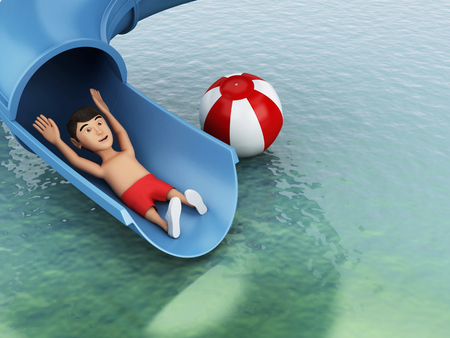 3d image renderer. Man on a water slide. Holidays concept. Stock Photo