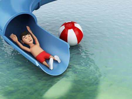 water slide: 3d image renderer. Man on a water slide. Holidays concept. Stock Photo