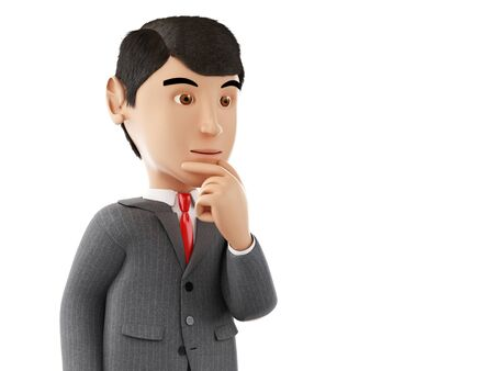 wonders: 3d Illustration. Businessman thinking. Business and success concept. Isolated white background.