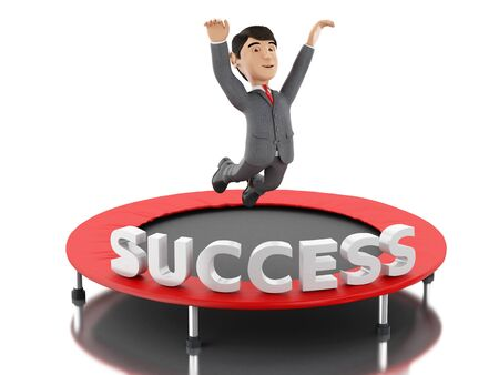 businessman jumping: 3d Illustration. Businessman jumping on a trampoline with word success. Business and success concept. Isolated white background.