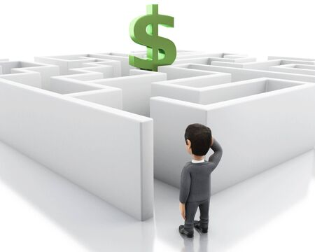 3d Illustration. Businessman with a maze and a dollar sign. Business and success challenge. Isolated white background. Stock fotó