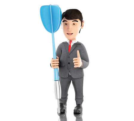 3d Illustration. Businessman with a blue dart. Business concept. Isolated white background. Stock Photo