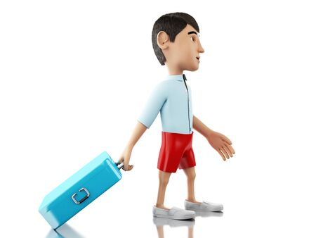 suitcase packing: 3d renderer image. Man with a suitcase goes on vacation. Travel concept. Isolated white background.
