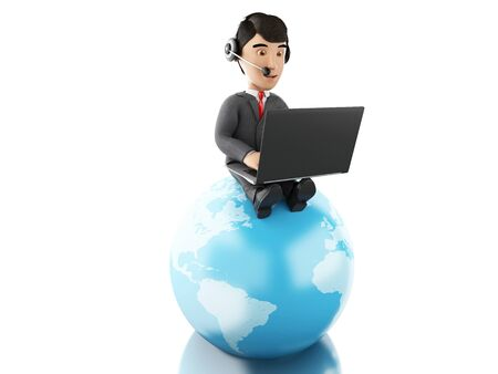 callcenter: 3d Illustration. Businessman working on a laptop with headphones on earth globe. Global communication concept. Isolated white background.