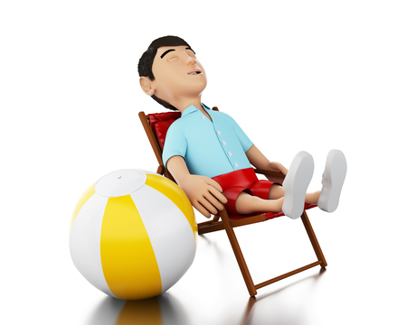 relaxed man: 3d Illustration. Man relaxed on a beach chair with a beach ball. Holidays concept. Isolated white background. Stock Photo